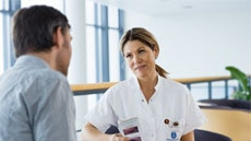Nurse talking to an ostomate