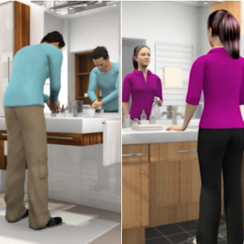 Animated man and women in their bathroom routines