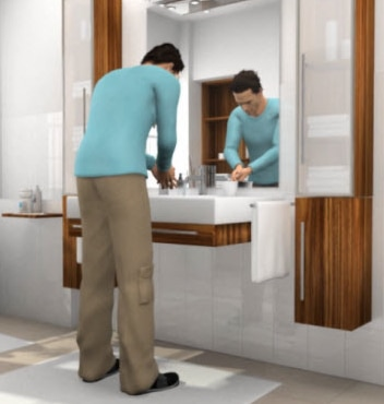 Animated man in his bathroom self-catheterizing